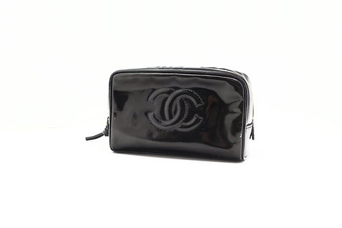 Chanel Timeless Line Cosmetic Pouch in Black Enamel Leather