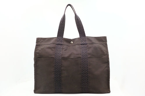 Hermes Fourre-Tout MM Tote Bag in Grey x Navy Canvas