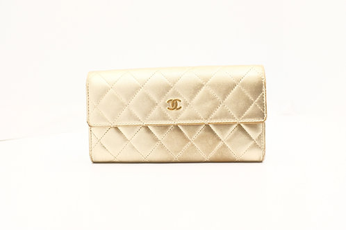 Chanel Long Wallet in Gold Matelasse Leather