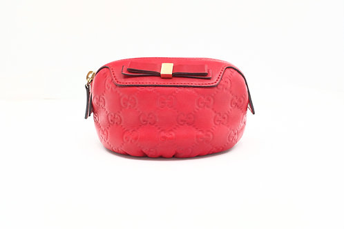 Gucci Guccissima Cosmetic Pouch in Red Leather