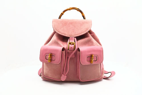 Gucci Bamboo Backpack in Pink Leather