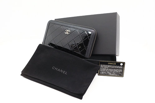 Chanel Long Wallet in Black Matelasse Patent Leather