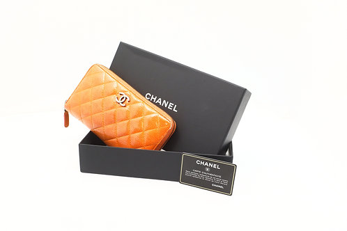 Chanel Matelasse Long Zippy Wallet in Orange Patent Leather