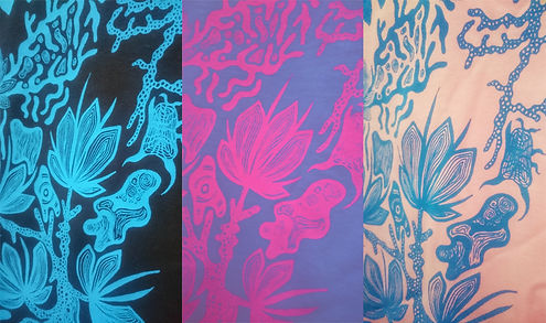 water based inks printed on black blue and pink t-shirts