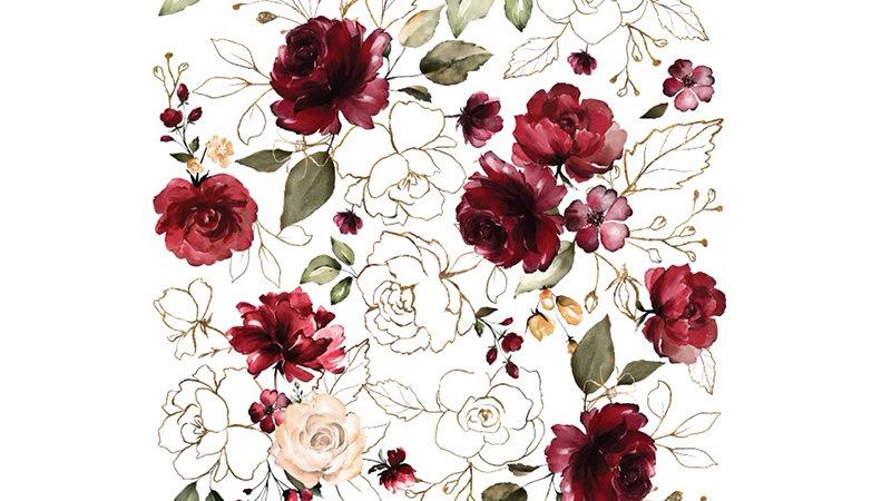 "Redesign Decor Transfer- Midnight Floral 22""x 33"""