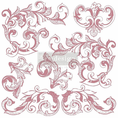 Elegant Scrolls – Clearly Aligned Stamps (12″ x 12″ clear cling, 7 pcs)