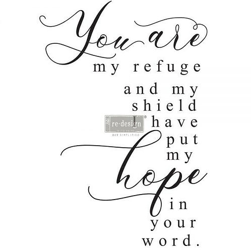 My Refuge – Redesign with Prima Rub-On Transfer (20″ x 30″ total size)