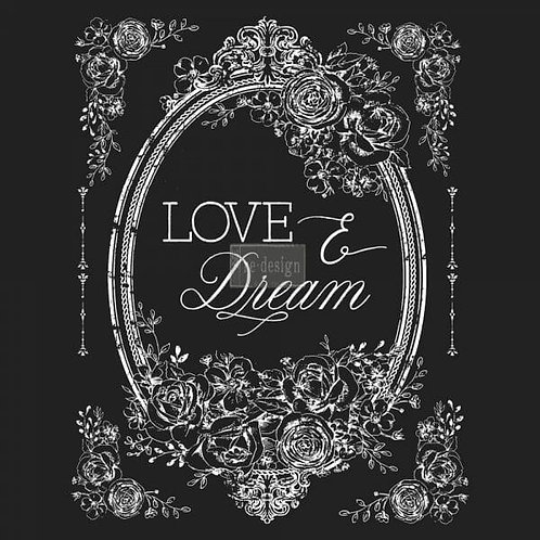 Love & Dream – Redesign with Prima Rub-On Transfer (22″ x 30″ total image size)