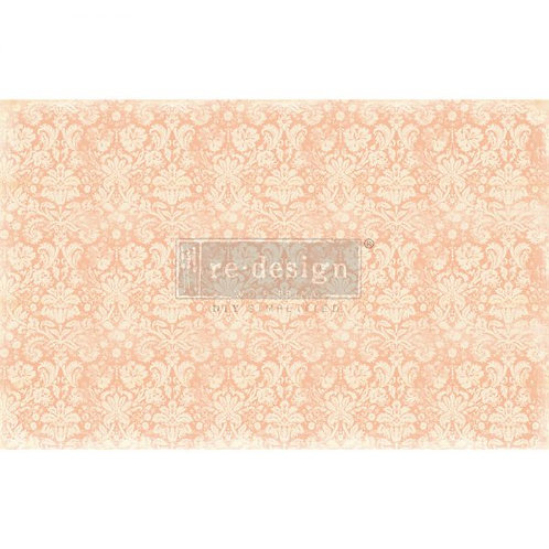 "Decoupage Decor Tissue Paper- Peach Damask 19""x20"""
