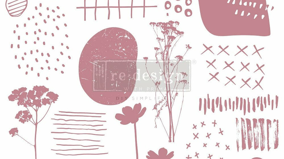 ABSTRACT SCRIBBLES – 12″X12″ (19 PCS) Decor Stamps by redesign with Prima!