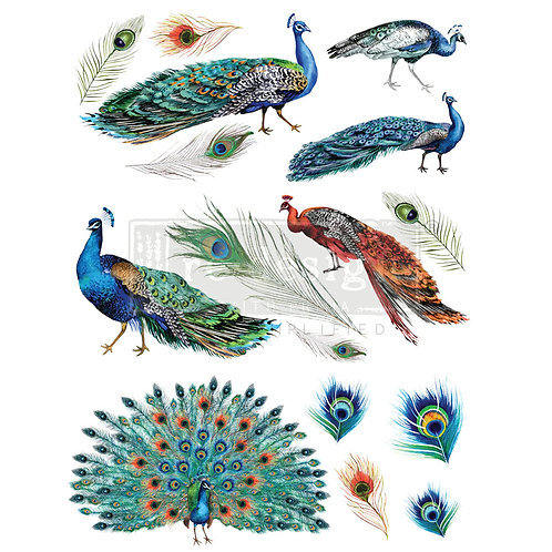 Peacock Dreams- Redesign with Prima Rub-On Transfer (24″ x 33″ total size)