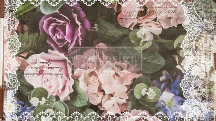 "Decoupage Decor Tissue Paper- Dark Lace Floral 19""x20"""
