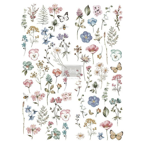 Delicate Fleur – Redesign with Prima Rub-On Transfer (22″ x 30″ total size)