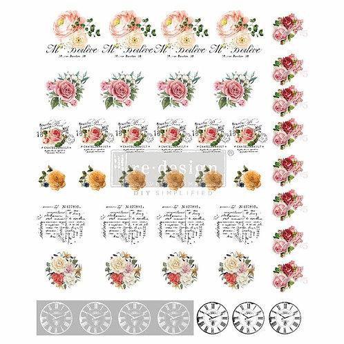 Vintage Rose – Redesign Knob Transfers – (1 sheet, size 9″ x 11″)