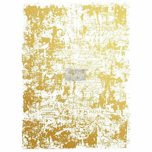 Gilded Distressed Wall Gold Foil Transfer- Redesign with Prima Transfer 17″ x 23