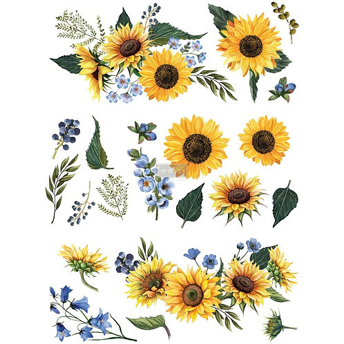 Sunflower Fields – Redesign with Prima Rub-On Transfer (25″ x 32″)