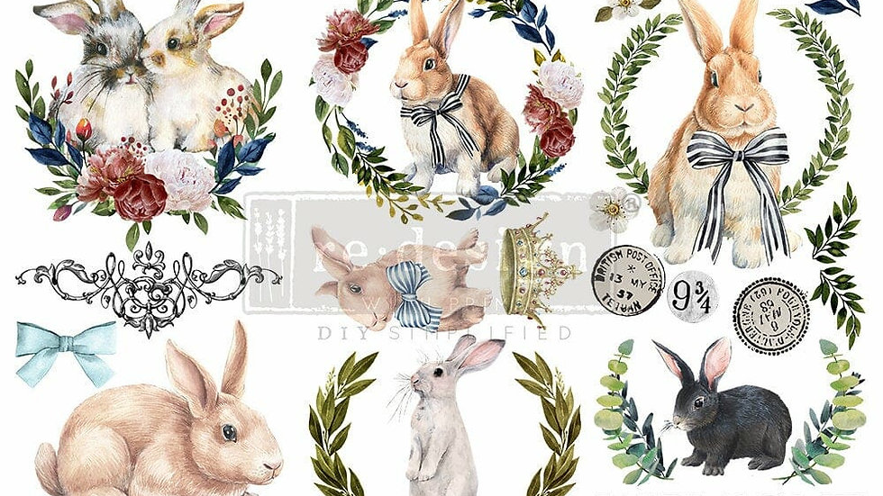 COTTONTAIL – 3 SHEETS, 6″X12″ transfer by Redesign with Prima! Mini Transfer