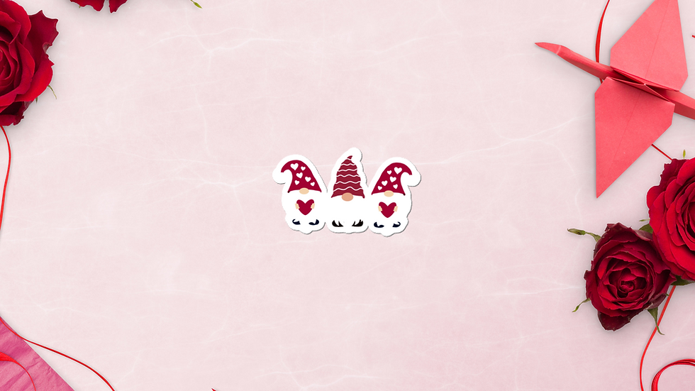 Valentine gnomes vinyl sticker