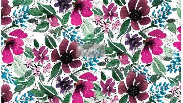 "Decoupage Decor Tissue Paper- Watercolor Flora 19""x20"""
