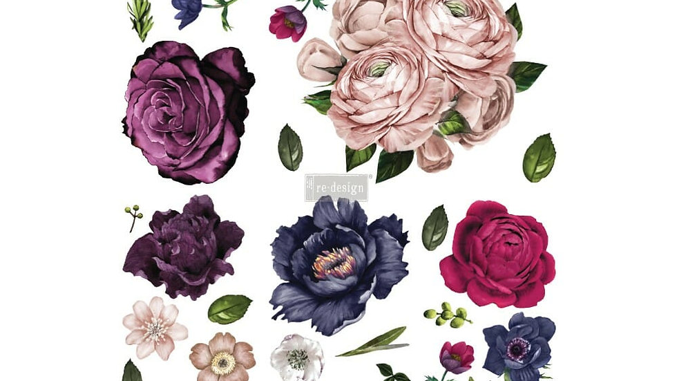 Lush Floral II – Redesign with Prima Rub-On Transfer (48″x32″ total size)