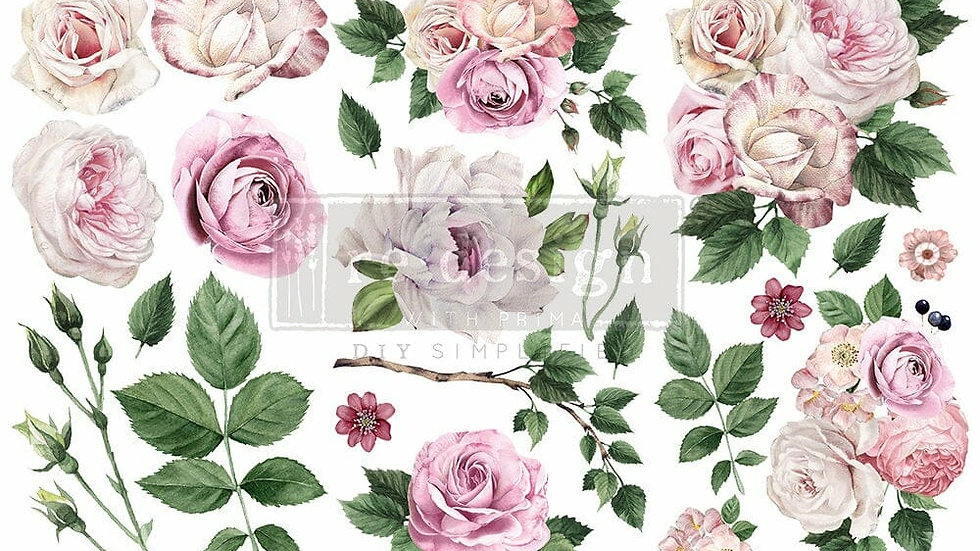 DELICATE ROSES – 3 SHEETS, 6″X12″ transfer by Redesign with Prima! Mini Transfer