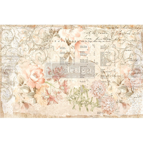 """Decoupage Decor Tissue Paper- Floral Parchment 19""""x20"""""""