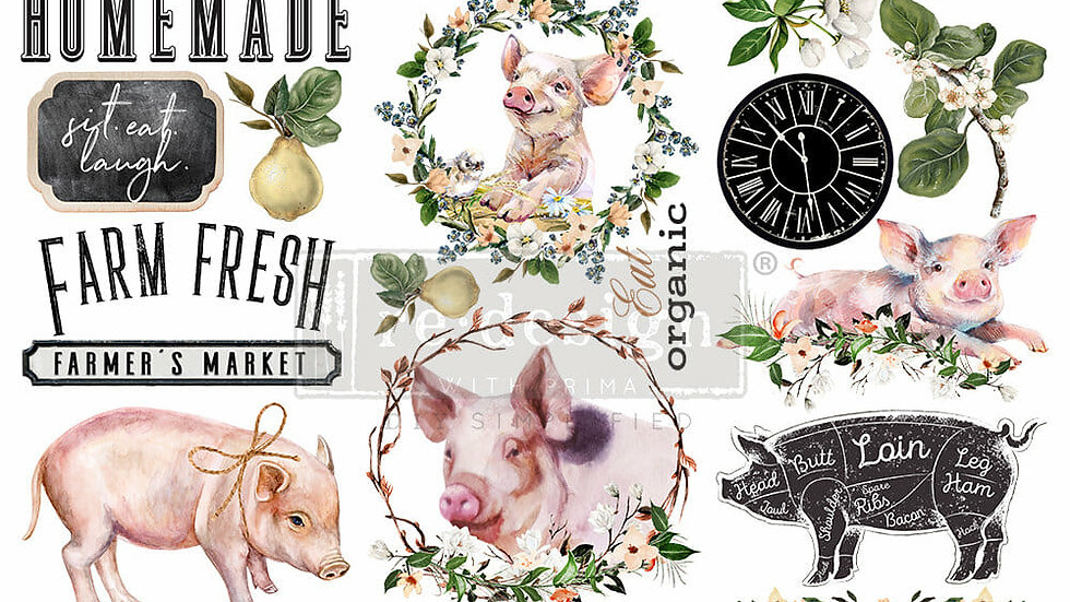 FARM FRESH- 3 SHEETS, 6″X12″ transfer by Redesign with Prima Mini transfer