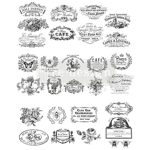 Classic Vintage Labels – Redesign with Prima Rub-On Transfer (24.7″x31.2″ total