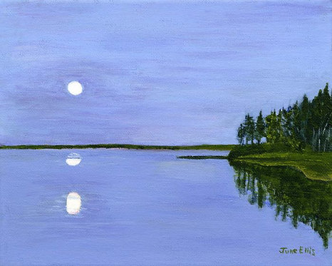 Moon Refelctions (original oil painting 8x10)