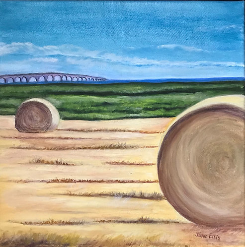 Bales by the Bridge (original oil painting 12x12)