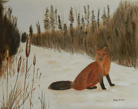 Red Fox on the Trail original oil painting
