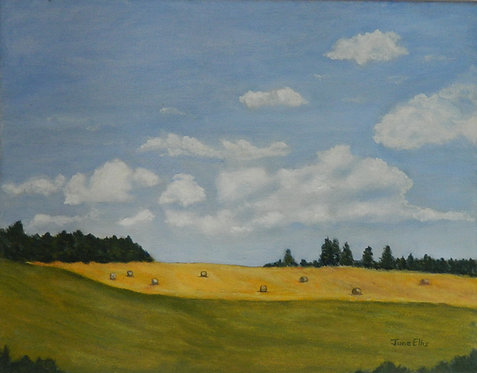 Clouds and Fields (original oil painting 11x14)