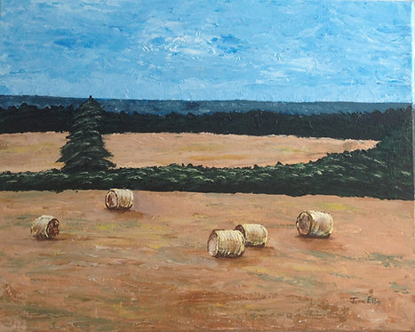 Bales in the Field (original acrylic painting 16x20)