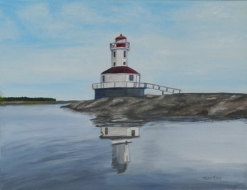 Lighthouse at Summerside Harbour (original oil painting 11x14)