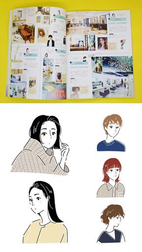 【MAGAZINE】mina 6月号  「みんなの、行きつけ隠れ家ヘアサロン」の似顔絵イラスト