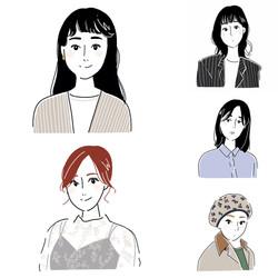 mina6月号「みんなの、行きつけ隠れ家ヘアサロン」の似顔絵イラストを担当
