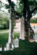 Open air wedding ceremony with eucalyptu