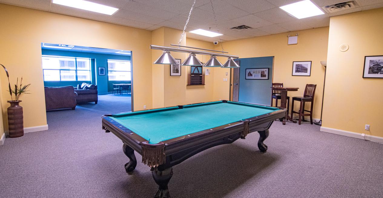 Clock Tower Lofts games room pool table
