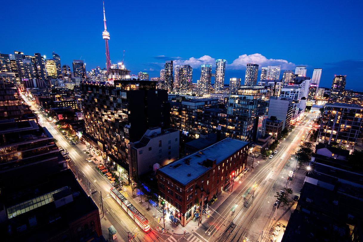 Rooftop Toronto King Steet Intersection Night