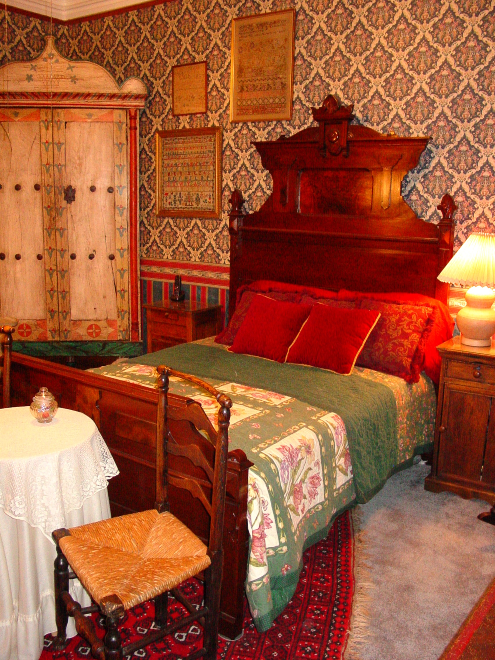 1860s Walnut Bed in Teal Room