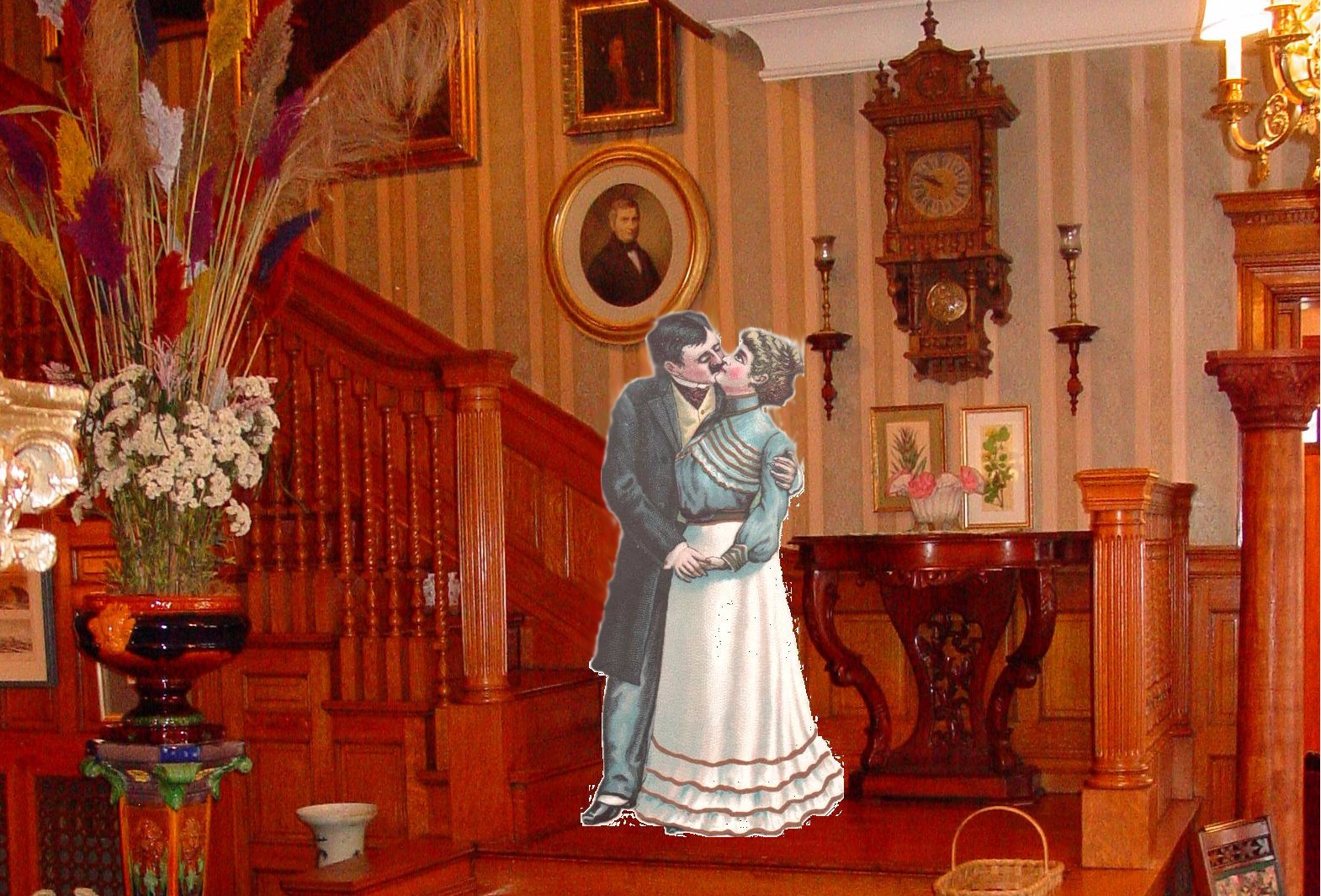"""Victorian Couple""on Stair Landing!"