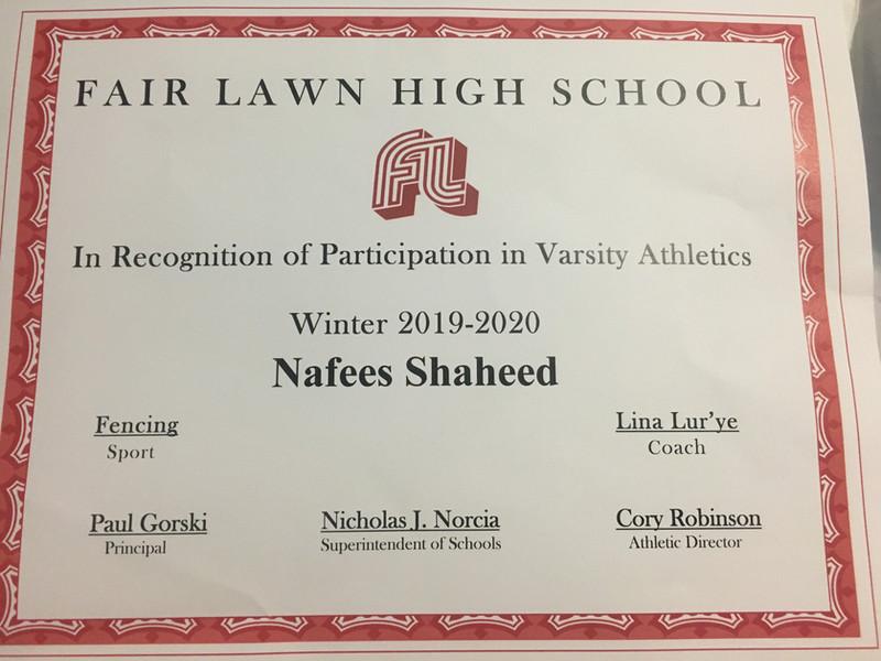 Varsity Certificate