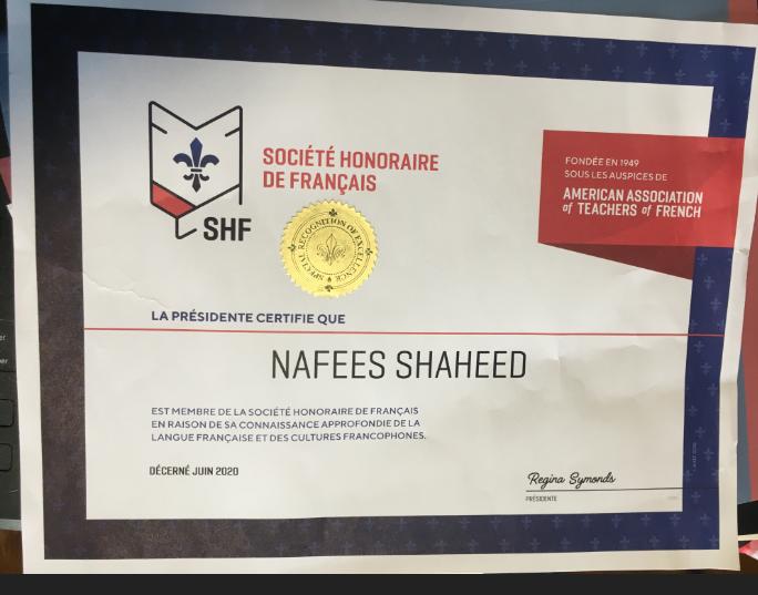 SHF Certificate