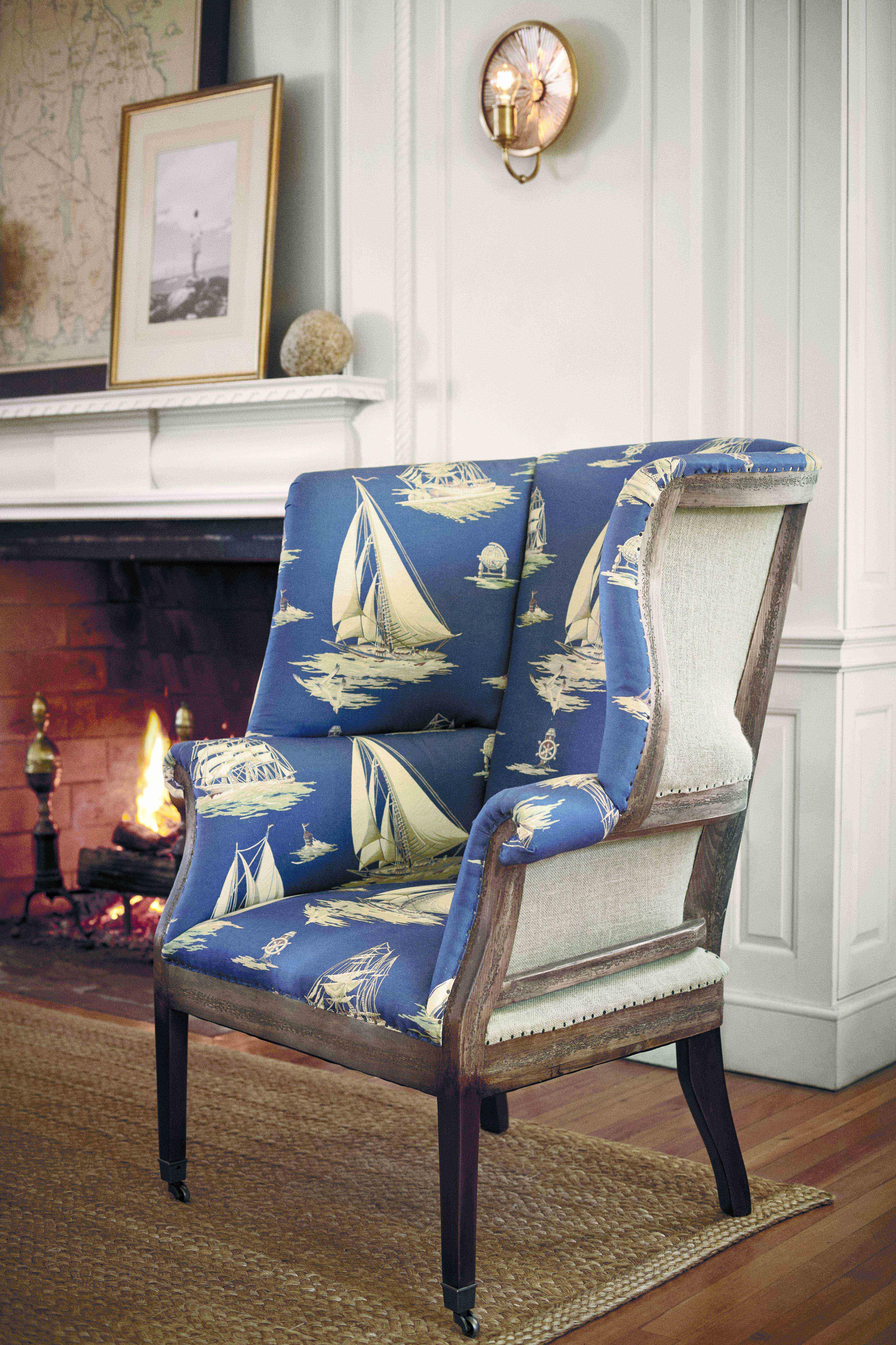 Wingchair mit Ralph Lauren Fabric