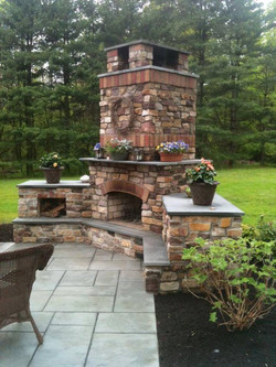 stone bbq and patio