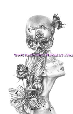Carpe Diem rose et papillon