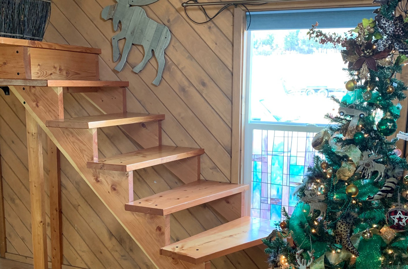 Stairs to loft, currently blocked off until railing is installed. Eventually this will allow the cottage to sleep six.