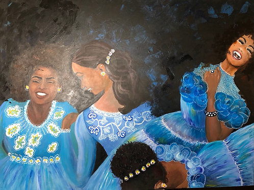 Esmeralda and the Blue Bridemaids' Dresses