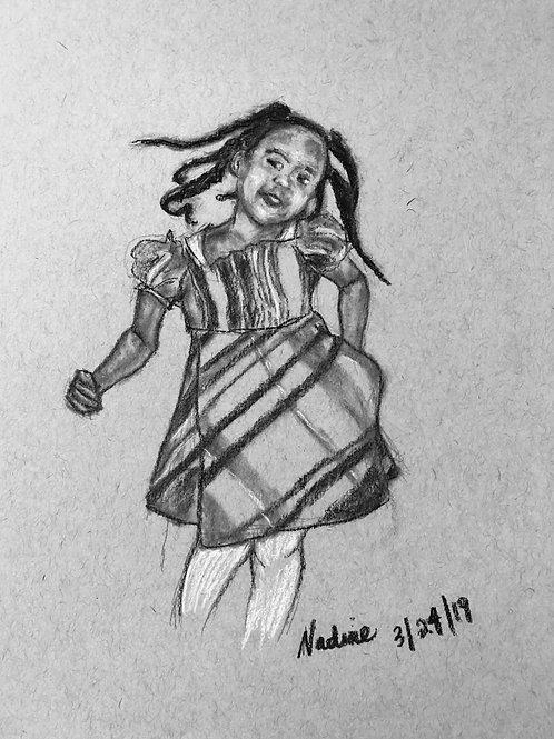 Girl in Plaid Dress (Set of 2 Original Drawings)