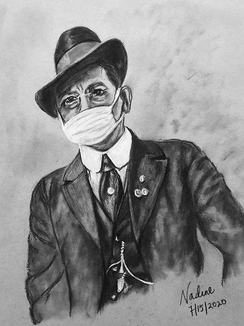 1918 flu pandemic mask wearer